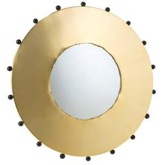 Polished Brass Mirror with Black Murano Glass Balls