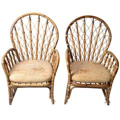 1970s Rattan, Wicker and Bamboo Dining Armchairs, a Pair