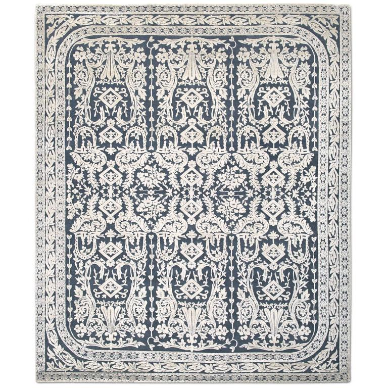 'Venetian_Charcoal', Hand-Knotted Tibetan Rug Made In