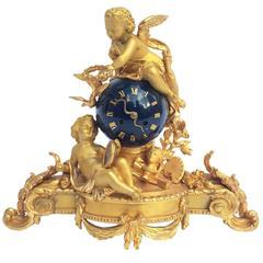 19th Century Gilt Bronze Table Clock with Cherubs