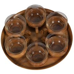 Walnut Serving Tray with Glass Cups, Austrian, 1960s