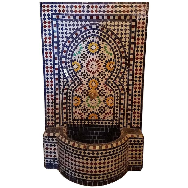Atlantic Blue Moroccan Mosaic Fountain, Multi-Color