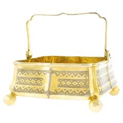 Russian Parcel Gilded and Engraved Sterling Sweetmeat Basket