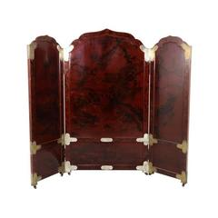 Antique Three-Panel Japanese Lacquered Screen with Chased Metal Mounts