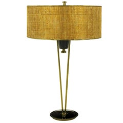 Rare 1950s Stiffel Black Lacquer and Brass Suspension Table Lamp