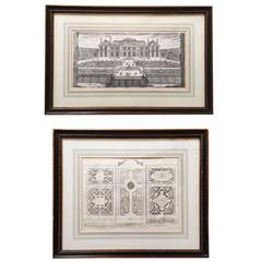 Two 18th Century Architectural and Landscape Engravings by Nicolas Langlois