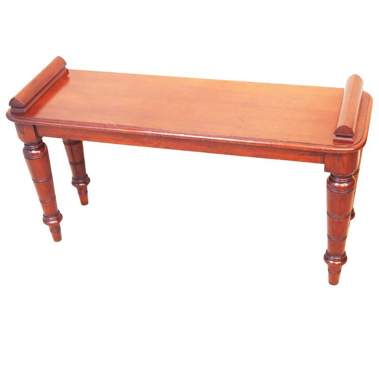 Antique Late 19th Century Mahogany Hall Bench