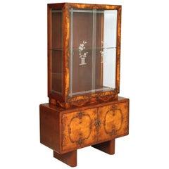 Art Deco Gio Ponti atributed Credenza Vitrine Cupboard, Meroni & Fossati, Burl