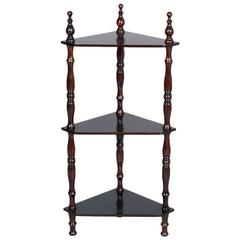 Last 19th Century Italian Corner Étagère Turned Walnut Ebonized Restored