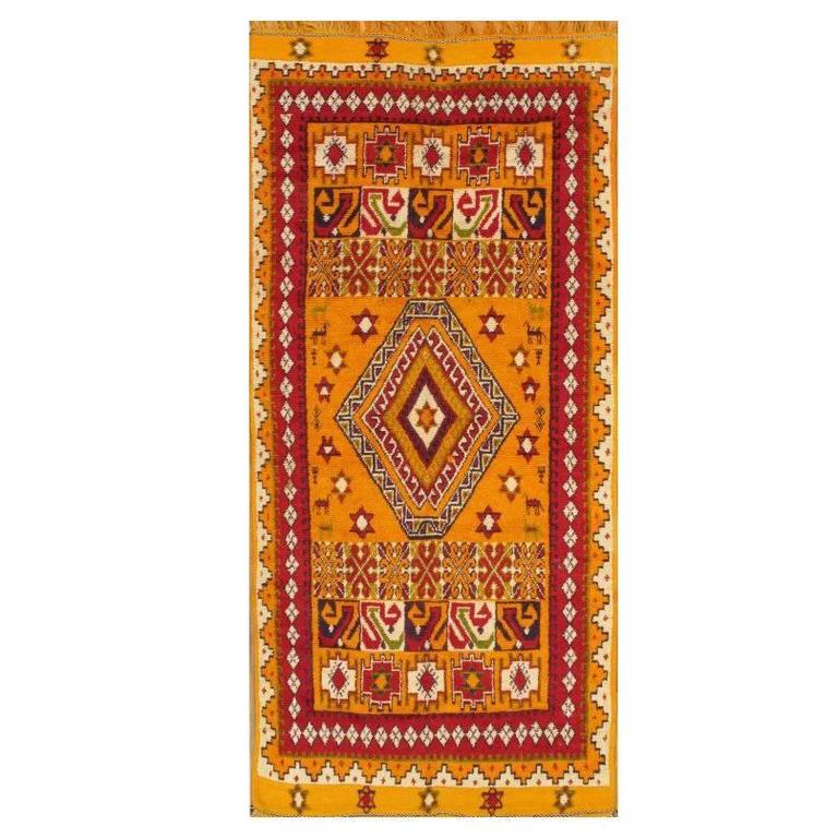 Hand-Knotted Orange and Red Tribal Moroccan Rug For Sale