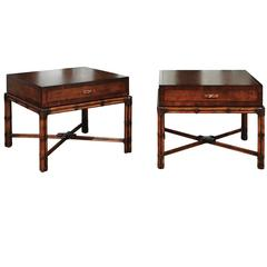 Beautiful Restored Pair of Large-Scale Vintage Campaign End Tables by Henredon