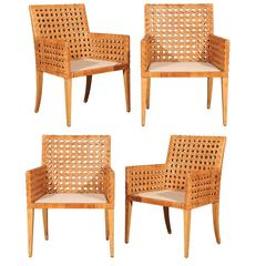 Stunning Restored Pair of Large-Scale Vintage Cane Armchairs