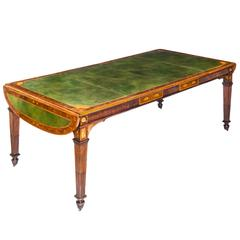 Superb Large 19th Century Neoclassical Mahogany and Marquetry Library Table