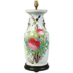 Antique Early 20th Century Chinese Republic Period Porcelain Vase Table Lamp