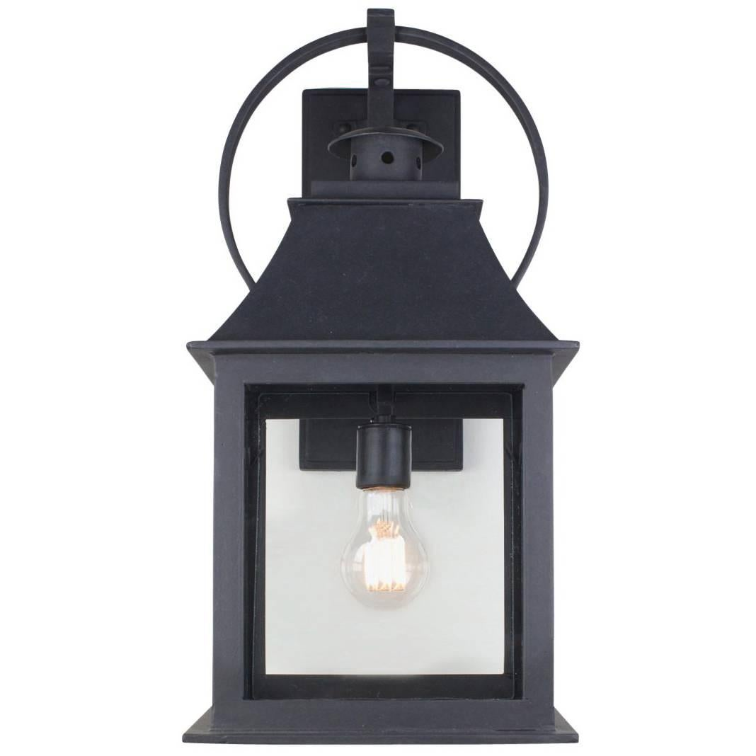 Wrought Iron Lantern with Stove Pipe Top Detail, Oversized Hoop, Arm Mount, Grey