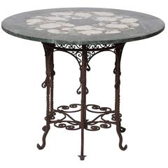 Rose Antiche Marble and Iron Table