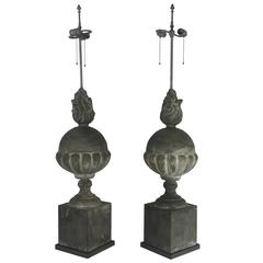 Architectural Pair of Zinc Table Lamps of a Substantial Size