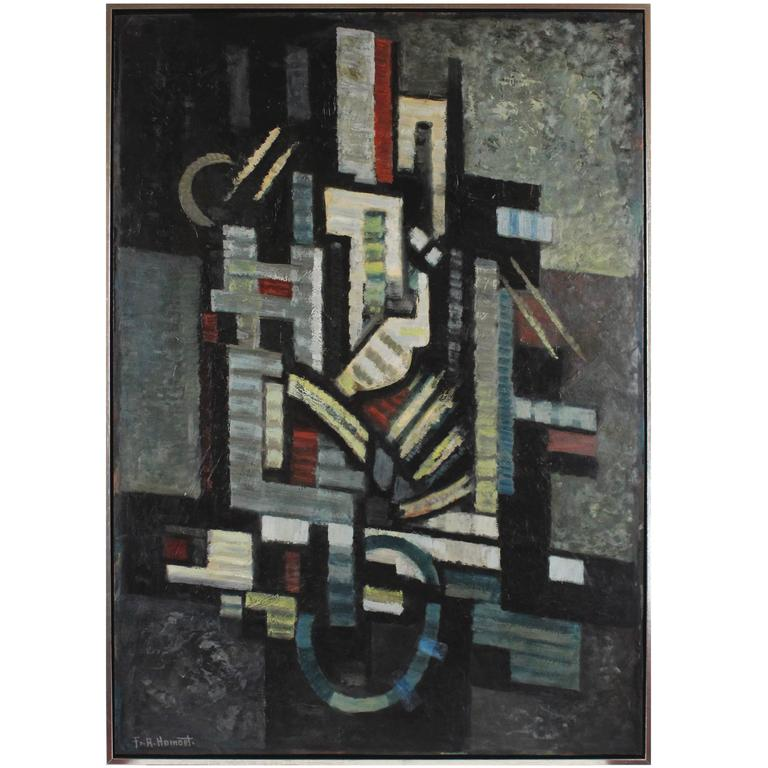 """Large Oil Painting by Franz a. Homoet, ''Abstract-Cubist Composition"""", 1950s"""