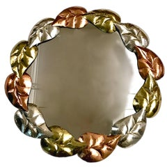 Pair of Hammered Metal Mirrors, Sold Individually