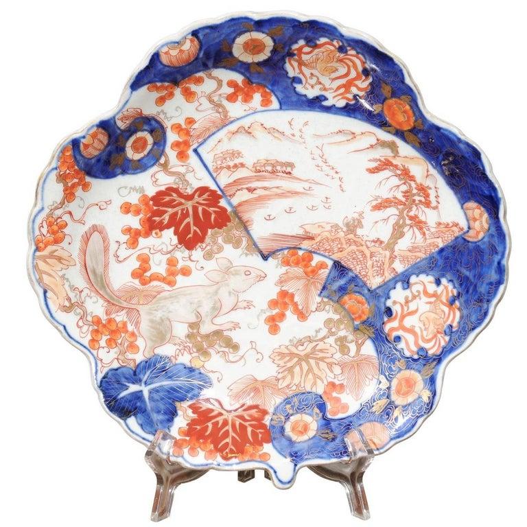 Japanese Shell Shaped Imari Plate  For Sale