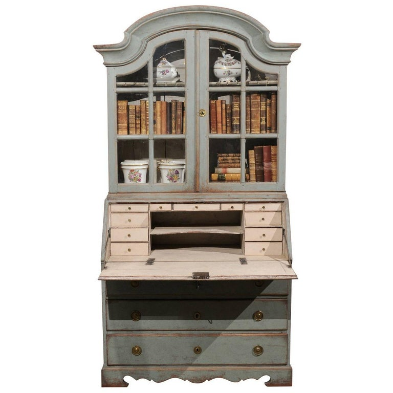 Swedish 1890s Rococo Style Painted Wood Tall Secretary With Glass Doors Cabinet For