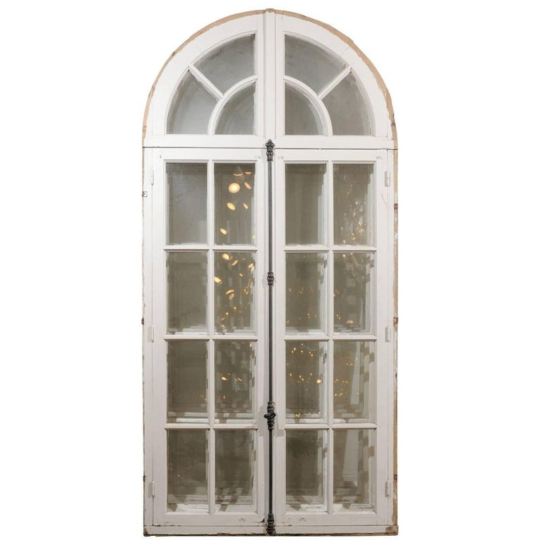 French 1850s Painted Door-Window with Arched Top from Nunnery in Western France