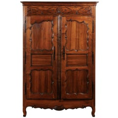 French Walnut Louis XV Style Armoire Façade with Carved Panels, circa 1850