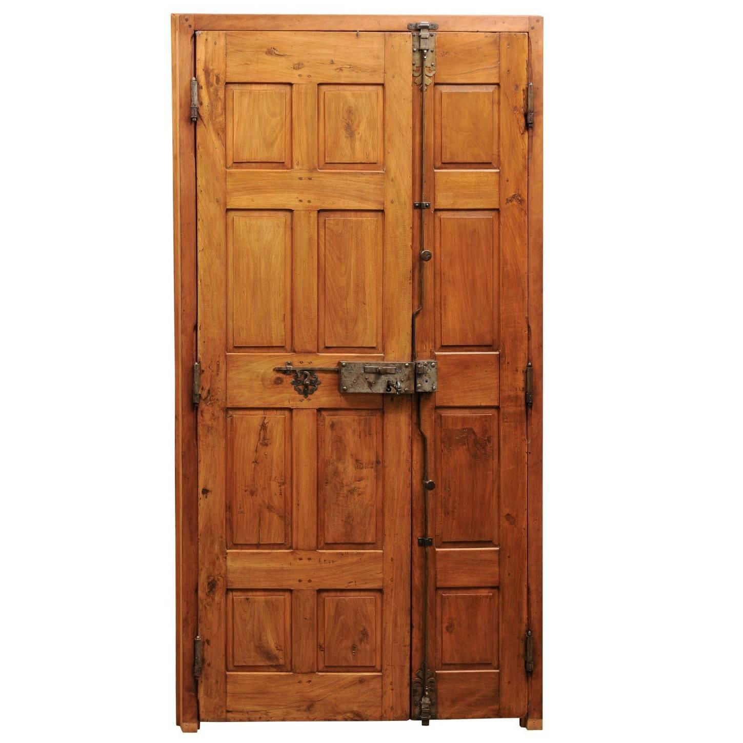 18th Century French Wooden Door with Simple Raised Panels and Original Hardware
