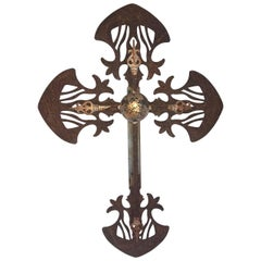 Large French 19th Century Religious Iron Cross
