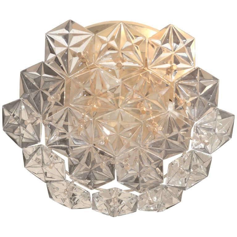 Kinkeldey Faceted Crystal Prism Chandelier For Sale