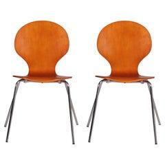 "Mid-Century Rare Pair 1950s ""Farfalla"" Designer Danish Bentwood Billund Chair"