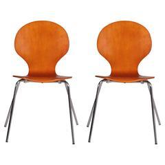 "Mid-Century Rare Pair 1960s ""Farfalla"" Designer Danish Bentwood Billund Chair"