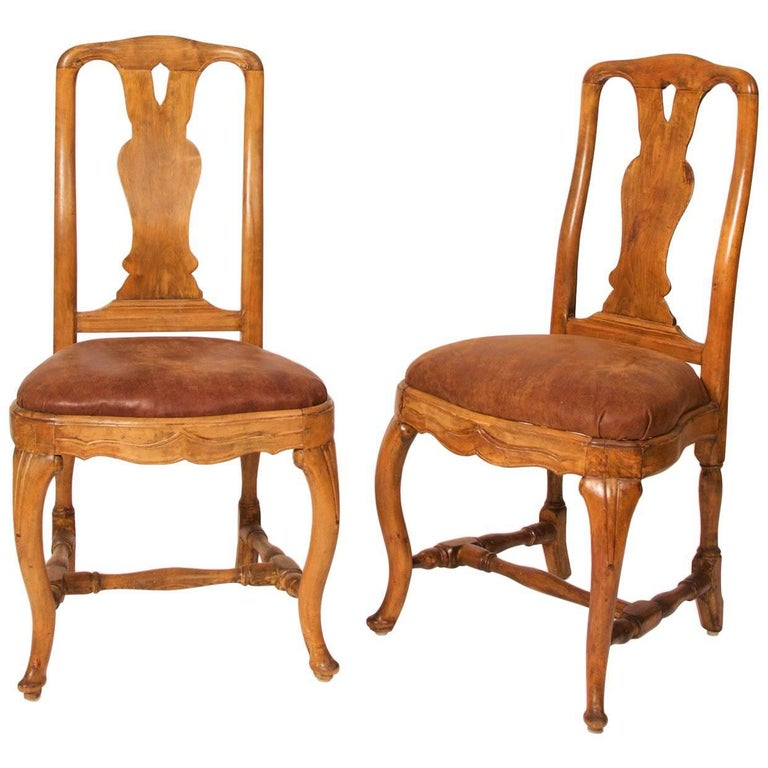 Two Early Rococo Chairs, Stockholm, Sweden, 1760 Alexander Thunberg Style