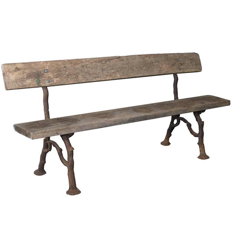 Antique Garden Bench With Faux Bois Cast Iron Legs For Sale