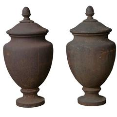 Pair of Antique Cast Iron Finials