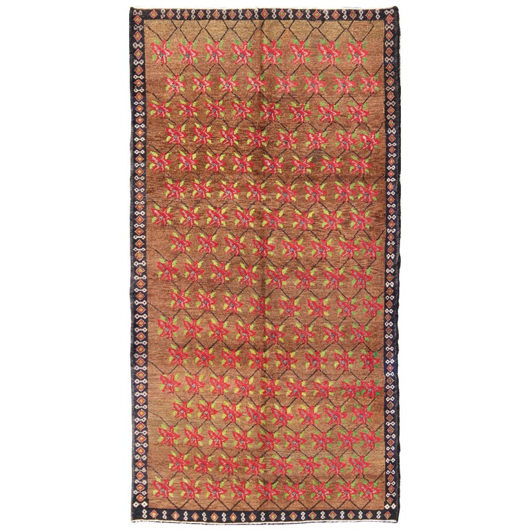 Turkish Oushak Carpet with Poinsettia Design Set a Top Light Brown Background