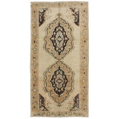 Vintage Turkish Oushak Gallery Rug with Two Medallions in Taupe, Brown and Cream