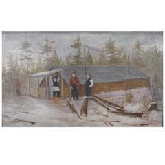 20th Century Naive Painting of Logging Scene with Four Male Woodsmen