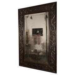 Carved Black Oak Mirror