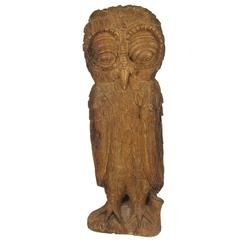 Antique Whimsical Late 19th or Early 20th Century Folk Art Carved Owl