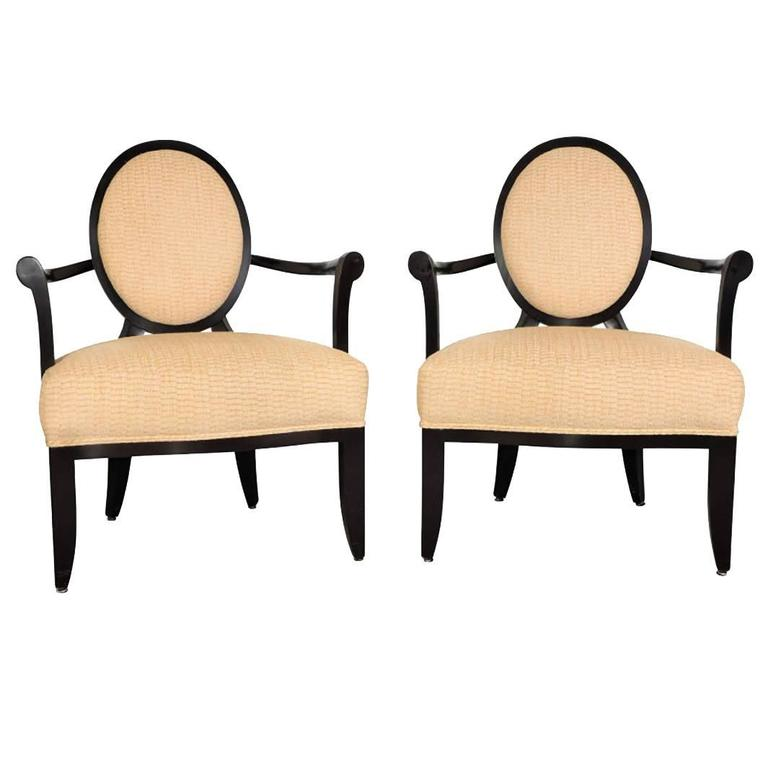 Pair Of Oval X Back Chairs By Barbara Barry For Baker Furniture For Sale