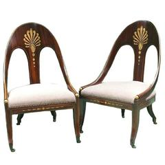 Pair of English George III Period Rosewood-Grained & Parcel-Gilt Spoonback Chair