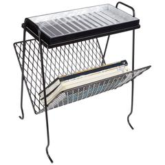 Edie Parker Home Magazine Stand in Black with Acrylic Tray