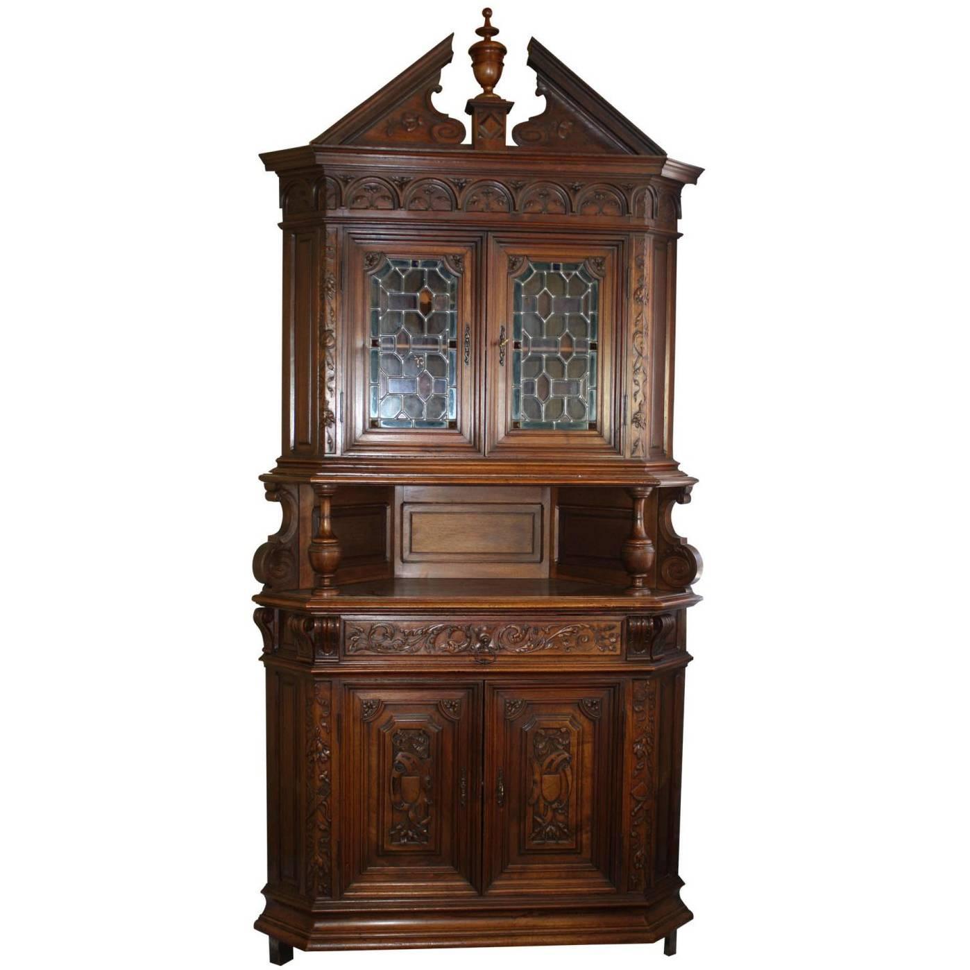 French Walnut Renaissance Revival Corner Cabinet, circa 1875