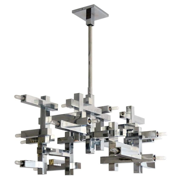 "Gaetano Sciolari ""Metric"" Chandelier For Sale"