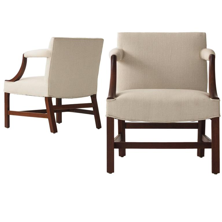 Mahogany Library Armchairs in the Style of Edward Wormley 1