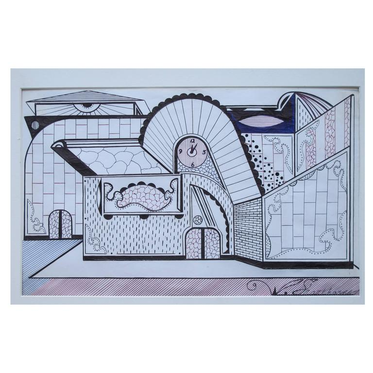 Architectural drawing with clock by welmon sharlehorne for for Architectural drawings for sale