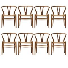 Early Production Hans Wegner Wishbone Chairs, Set of Eight