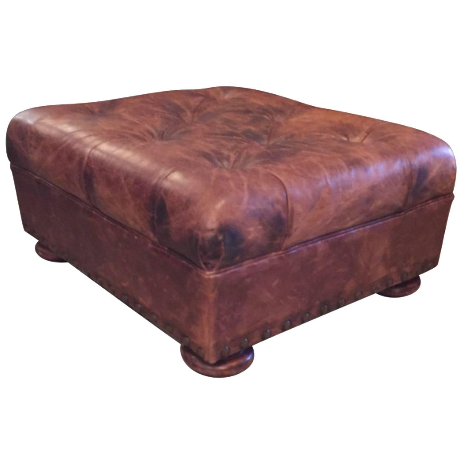 Awesome Ralph Lauren Tufted And Distressed Brown Leather Ottoman At Caraccident5 Cool Chair Designs And Ideas Caraccident5Info