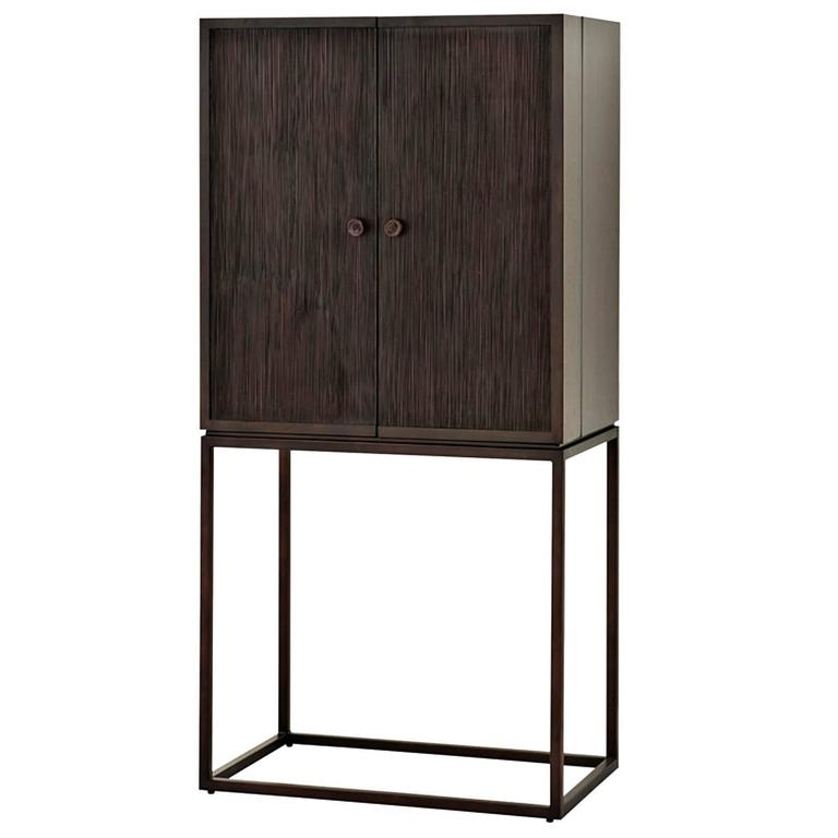 Old Wine Bar Cabinet in Solid Mahogany and Bronze Finish